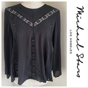 NWT Black Lace Inset Michael Stars Blouse, S